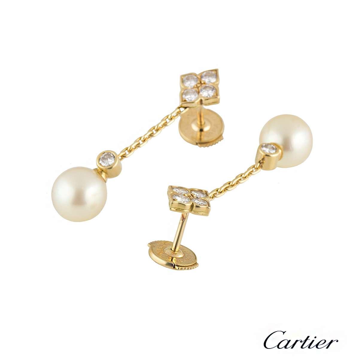 cartier 18k yellow gold diamond amp pearl drop earrings